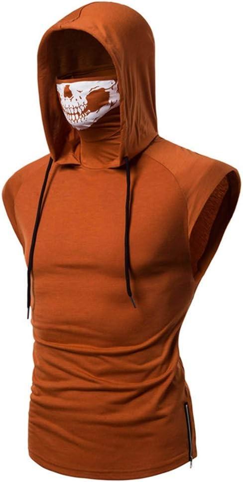 Shenme Traje Ninja s/úper Estiramiento Aptitud de los Hombres con Capucha Camiseta sin Mangas Call of Duty Fantasma cr/áneo de la m/áscara Traje de Entrenamiento Correr Traje