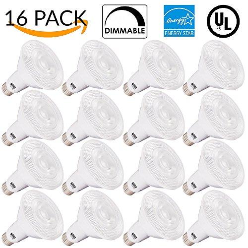 Sunco Lighting 16 PACK - PAR30 LED 11WATT (75W Equivalent), 5000K Daylight Light Bulb White, DIMMABLE, Indoor/Outdoor Lighting, 850 Lumens, Flood- UL & ENERGY STAR LISTED by Sunco Lighting