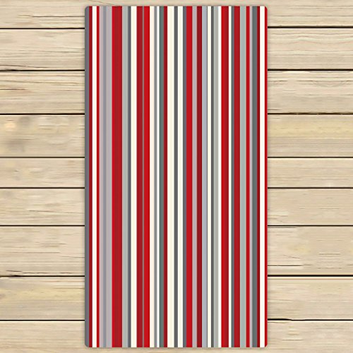 Custom Red gray vertical stripes Towels,Beach Bath Pool Sprot Travel Hand Spa Towel Size 30x56 inches
