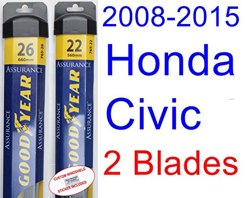 2008-2015 Honda Civic Sedan Replacement Wiper Blade Set/Kit (Set of 2 Blades) (Goodyear Wiper Blades-Assurance) (Honda Civic Windshield Replacement)