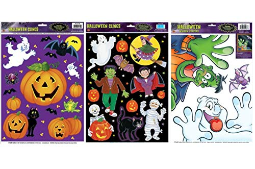 Halloween Clings Bundle - Windows and Mirrors Party Accessory Decoration - Set of 3 Friendly Monster Themed Cling Sheets