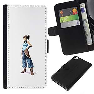 JackGot ( Blue Warrior Girl ) HTC Desire 820 la tarjeta de Crédito Slots PU Funda de cuero Monedero caso cubierta de piel