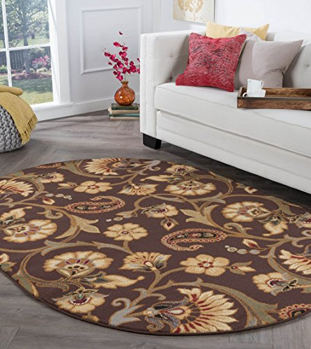 (Brianna Transitional Floral Brown Oval Area Rug, 7' x 10' Oval )