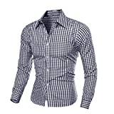 PHOTNO Men's Autumn And Winter Long-sleeved Plaid Self-Cultivation Shirt Top Blouse (M, Black)