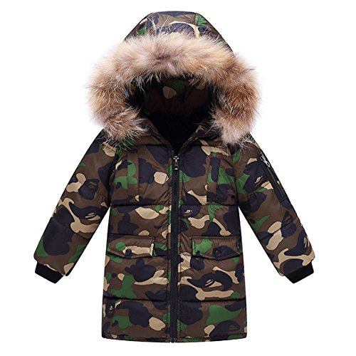 OCHENTA Kids Boys' Winter Camo Padded Puffer Coat with Faux Fur Hood Army Green Tag 140-Height 51