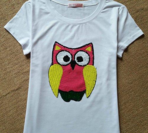 WanYang Mujeres Búho De Impresión T shirt De Lentejuelas Suelto Camiseta De Manga Corta Blanco