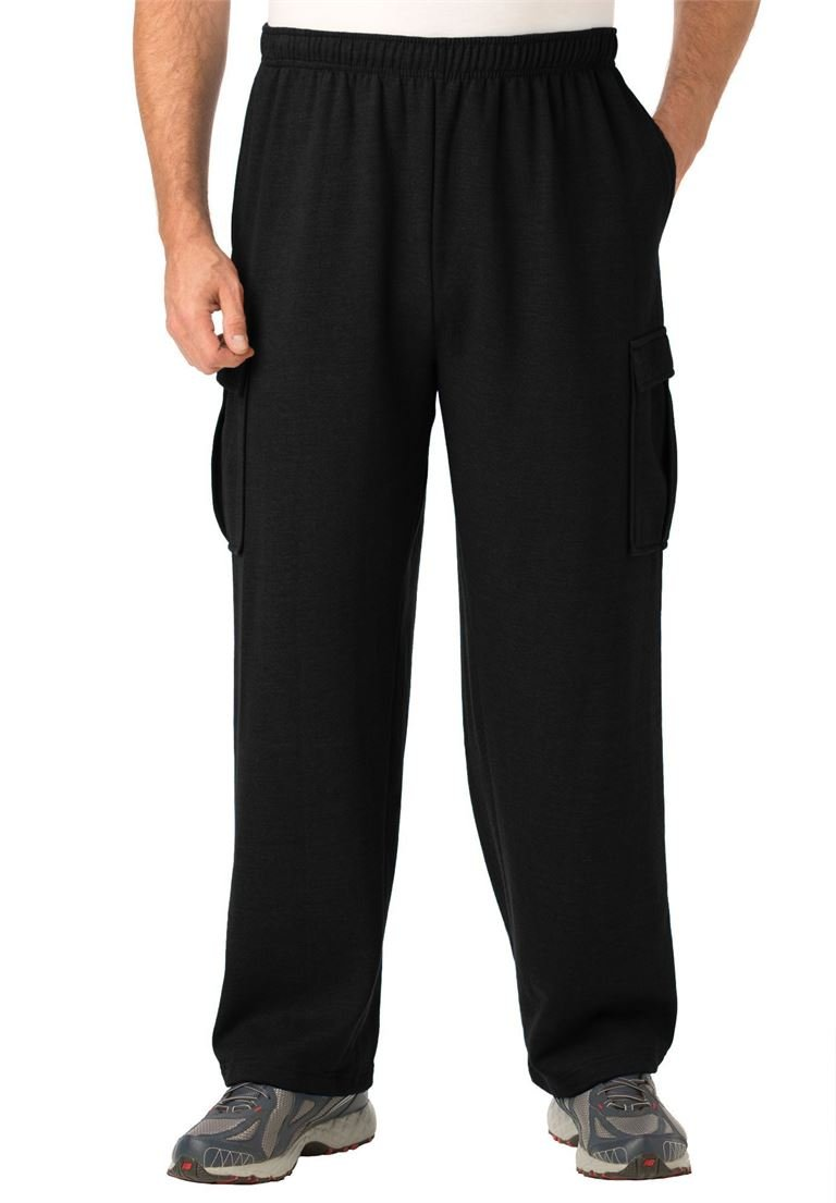 KingSize Men's Big & Tall Easy-Care Fleece Cargo Pants, Black Tall-L
