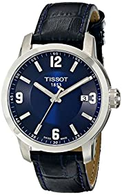Tissot Men's TIST0554101604700 PRC 200 Stainless Steel Watch with Blue Leather Band