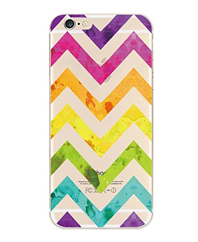 iPhone 5C Case, DECO FAIRY® Protective Case Bumper[Scratch-Resistant] [Perfect Fit] Translucent Silicone Clear Case Gel Cover for Apple iPhone 5C (Colorful Chevron iPhone 5C) (Colorful Cases Iphone 5c)