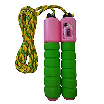 Storite Adjustable Skipping Jump Rope with Counter and Comfortable Handles for Children Kids Students Boys Girls Teens (2 Pack Green-Pink): Sports & Outdoors