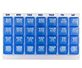 GMS 7 Day Pill Organizer Four-Times-A-Day Compartments - Large Slant Tray (Blue Pill Boxes in White Tray)