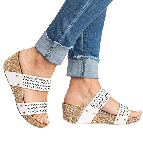 (Womens Summer Sandal Wedges Boho Flip Flops Platform Rivet Beach Shoes Thick Bottom Slippers (White -2, US:5.0))