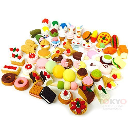 Collectible Erasers - 20 of Assorted SWEET DESSERT FOOD CAKE Japanese Puzzle Eraser IWAKO (20 will be randomly selected from image shown)