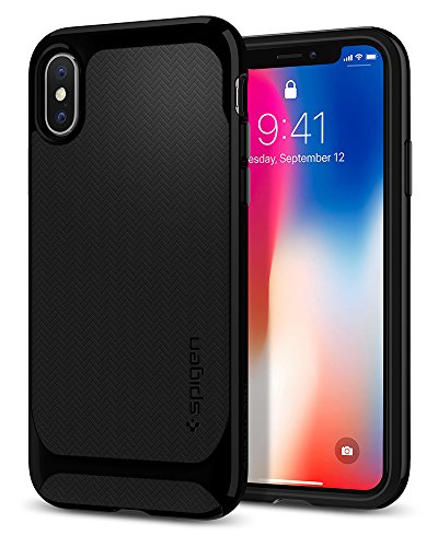 Spigen Neo Hybrid iPhone X Case Herringbone with Flexible Inner Protection and Reinforced Hard Bumper Frame for Apple iPhone X (2017) - Black & Shiny Black