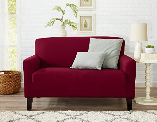 One Piece Loveseat Silpcover, Slip Resistant, Stylish Furniture Cover / Protector. Dawson Collection Basic Strapless Slipcover by Great Bay Home Brand. (Loveseat, Tawny Port Red) - Furniture Slipcover Loveseat