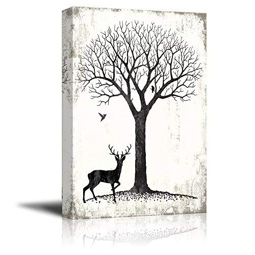 Canvas Wall Art - Abstract Landscape with Tree and Birds and a Deer - Giclee Print Gallery Wrap Modern Home Art Ready to Hang - 16x24 inches
