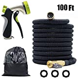 CLAPOTIS Garden Hose, Expandable Water Hose with 3/4 Solid Brass Joint, Lightweight and Durable, Easy to Take-Up & Storage, 8 High Pressure Spray Nozzles (100 FT)