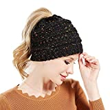 Knit Messy Bun Hat Beanie (Black Flecked)