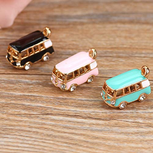 (Max Corner Bus Pendant Charm, 5 Pcs Car Rhinestone Gold Color Charms for DIY Necklace Bracelet Anklet Jewelry Accessories Supply Gift (Blue))
