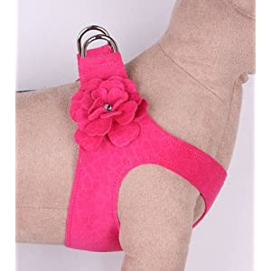 """Small Dog Step-In Harness Tinkie's Garden in Ultrasuede (Raspberry, (4) SM 12.5"""" to 14"""" girth)"""