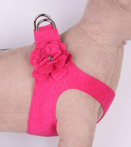Small Dog Step-In Harness Tinkie's Garden in Ultrasuede (Raspberry, (5) MD 14.5'' to 16'' girth) by Susan Lanci Designs