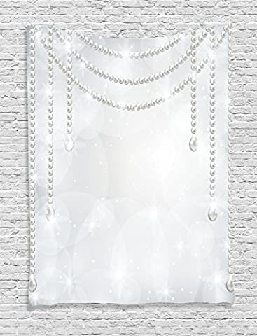 Pearls Decor Tapestry by Ambesonne, Diamonds Gems Alluring Charming Stones Pearls Hanging Necklace Bridal Decor Art Image, Wall Hanging for Bedroom Living Room Dorm, 60 X 80 Inches, Grey and - Mother Of Pearl Wall Art