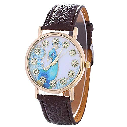 FAVOT 2019 New Creative Peacock Pattern Women Watch Leather Casual Student Quartz Watch Summer Dress Jewelry Accessories (Brown)