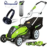 Greenworks G-MAX 40V Lithium-Ion 19-inch Cordless Lawn Mower with Technical Pro HP23 Headphones, Copco 24oz. Bottle + Sun Joe Protective Safety Glasses Kit