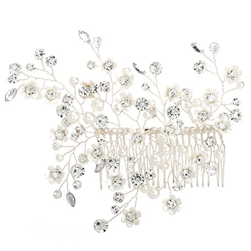 Miallo Wedding Hair Comb 100% Handmade Rhinestone Foliage with Artificial Petals Match Different HairStyle Bridal Hair Accessories for BridesampBridesmaids