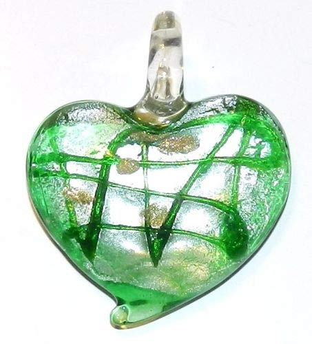 Glass Gold Foil Heart Pendant - Bead Jewelry Making Green Swirl Silver Foil w Gold Sparkle Heart 45mm Lampwork Glass Pendant