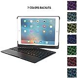 iPad 9.7 keyboard case, ONHI 360 Rotate Stand Smart Keyboard Cover 7 Color Backlit Keyboard Case Foliowith Auto Wake / Sleep for iPad Air, iPad Air 2, iPad Pro 9.7 and 2017 New iPad 9.7 (Black)