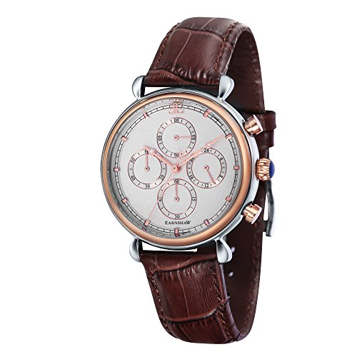 Thomas Earnshaw Men's 'GRAND CALENDAR' Quartz Stainless Steel and Leather Casual Watch, Color:Brown (Model: ES-8052-03)