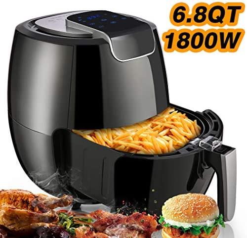 Air Fryer 6.8-QT,1800W Electric Airfryer Oven Oilless Non-stick Cooker for Fast Healthier Food, Deep Fryer Auto Shut Off Timer Temperature Control with LED Touch Digital Screen Pot