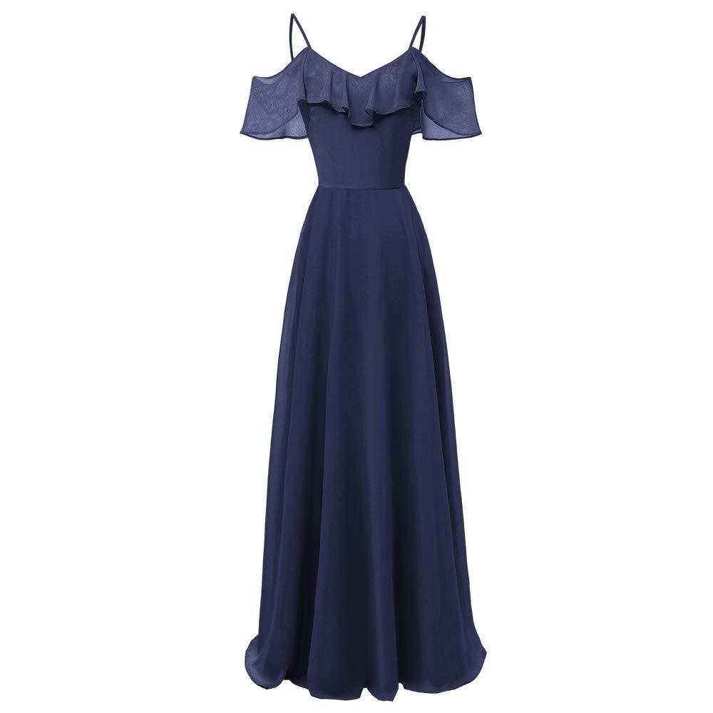 Long Dress Hot Sale! DEATU Women Vintage Princess Elegance Cocktail V-Neck Ladies Party Swing Sleeveless Long Dress(Navy,XL)