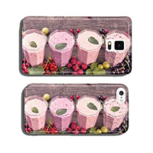 Various fresh berries smoothies top view cell phone cover case iPhone6