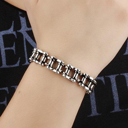 Feraco Mens Bikers Bracelet Stainless Steel Motorcycle Bike Chain Bracelets 8.4 Inch Black/&Silver