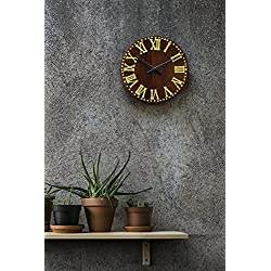 Thanksgiving Gifts Wooden Decorative Wall Clock Large Vintage Style Battery Operated For Living Room Victorian Rustic Round Brown 11 Inch With Yellow Roman Numeral Non Ticking Silent Clock