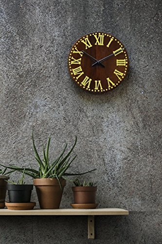 Brown Wall Clock Handcraft Vintage Style Wooden Easy to Read Decorative Large For Living Room Rustic Round Roman Numeral . (Brown & - In Shopping College Station