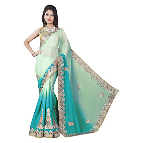 amp; ricamo 620 imp Sari Blu festa ultima Designer Jari sposa camicetta Verde nuziale tradizionale Saree Designer OdU6wZnx5q
