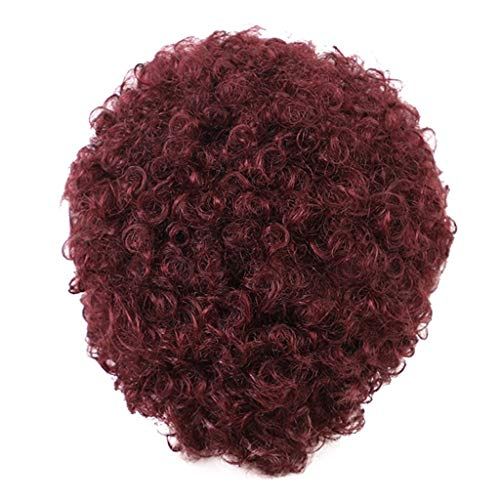 (DDLmax Short Wine Red Afro Curly Synthetic Hair Replacement Wigs for Black Women, Loose Curly African American Costume Cosplay)