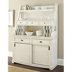 Farmhouse Buffet Sideboards Steve Silver Cayla Buffet with Hutch in Antique White with rub Through Heavy Distressing farmhouse buffet sideboards