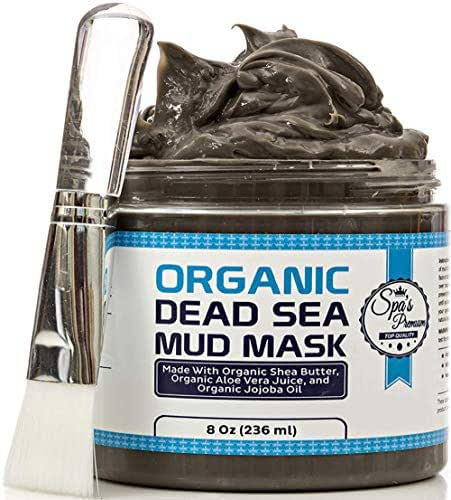 Spa's Premium Organic Dead Sea Mud Mask 8oz and Free Face Brush, All Natural, Purifying Face Mask for Acne Treatment and Skin Care, Pore Minimizer Mask for Blackheads, Facial Cleanser for Oily Skin