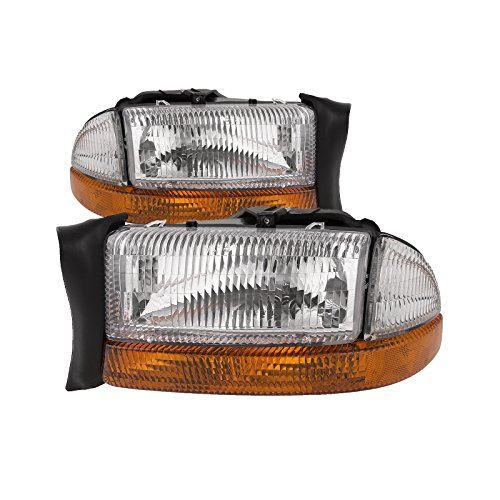 HEADLIGHTSDEPOT Halogen Headlights Compatible with Dodge Dakota Durango Includes Left Driver and Right Passenger Side -