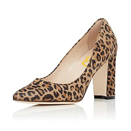 Fsj Kvinner Klassiske Lukket Tå Pumper Chunky Høye Hæler Skli På Faux Semsket Sko Størrelse 4-15 Oss Leopard