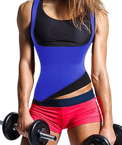 Gotoly Damen Corsage Korsett Bauchweg Training Taillenkorsett abnehmen Shirt Taillenformer Fitness Blau Qyog9xXTb