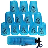 Amhii Quick Stack Cups Set of 12 with Quick Release Stem - Sports Stacking Cups Speed Training (Blue)