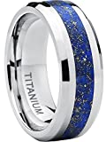 Titanium Ring Wedding Band with Genuine Royal Blue Specks Riverstone Inlay, Comfort Fit, 8mm SZ 10