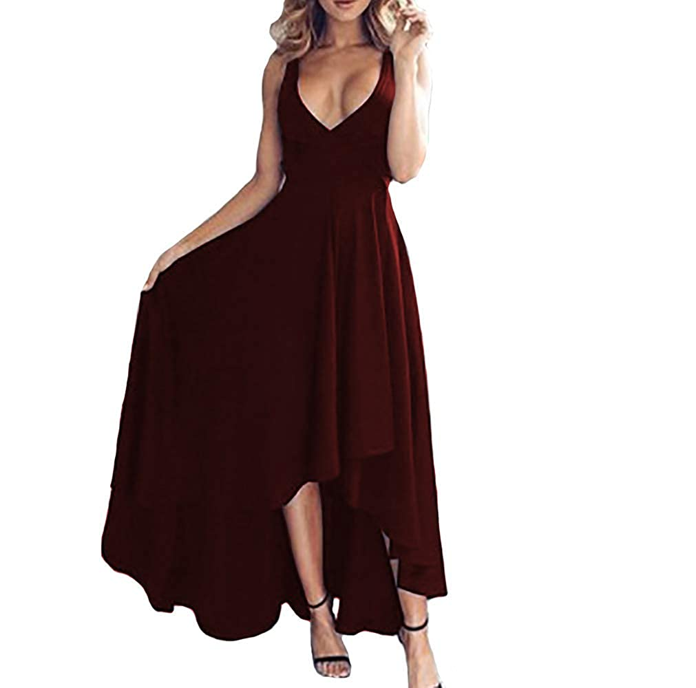 Burgundy IVYPRECIOUS Women's V Neck A Line Prom Dresses Sexy High Low Formal Party Dresses Evening Gowns