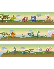 """Greca Wandkings """"dinosaurios de colores"""", longitud: 450 cm, autoadhesiva, para la habitación de los niños"""