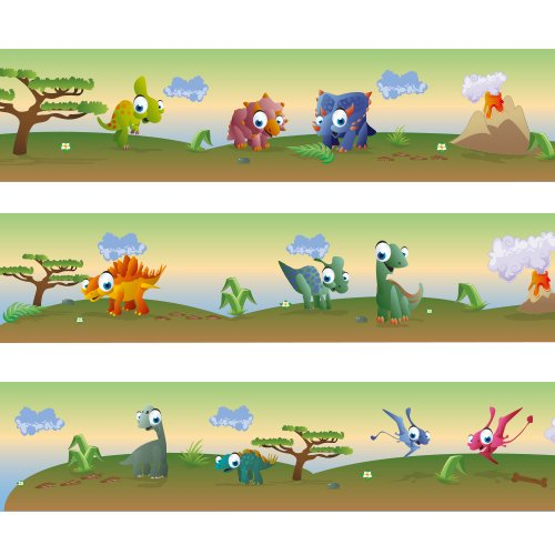 """Wandkings border """"Colourful Dinosaurs"""" Length: 177 inch, self-adhesive, for children's rooms"""
